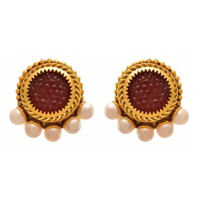 Femmes Jfl - traditionnel ethnique une perle Gram plaqué or Designer Collier Set avec boucle doreille PourSSGJZ