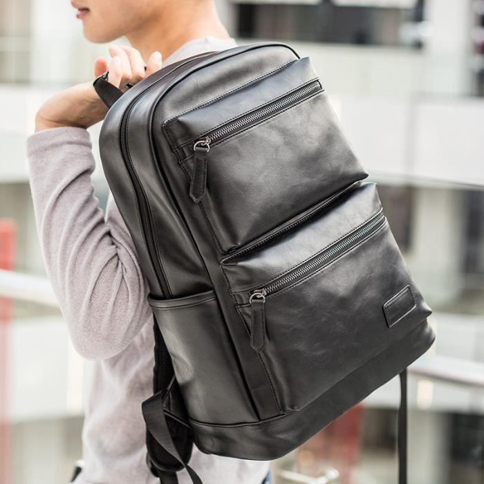 Vintage en cuir pour homme sac à dos Voyage Collège Sac bandoulière (Noir)--R002