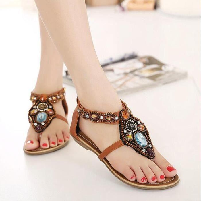 Sandale Femme Bohémienne été Chaussure Fille Sandales KIANII® marron RQsqECLO