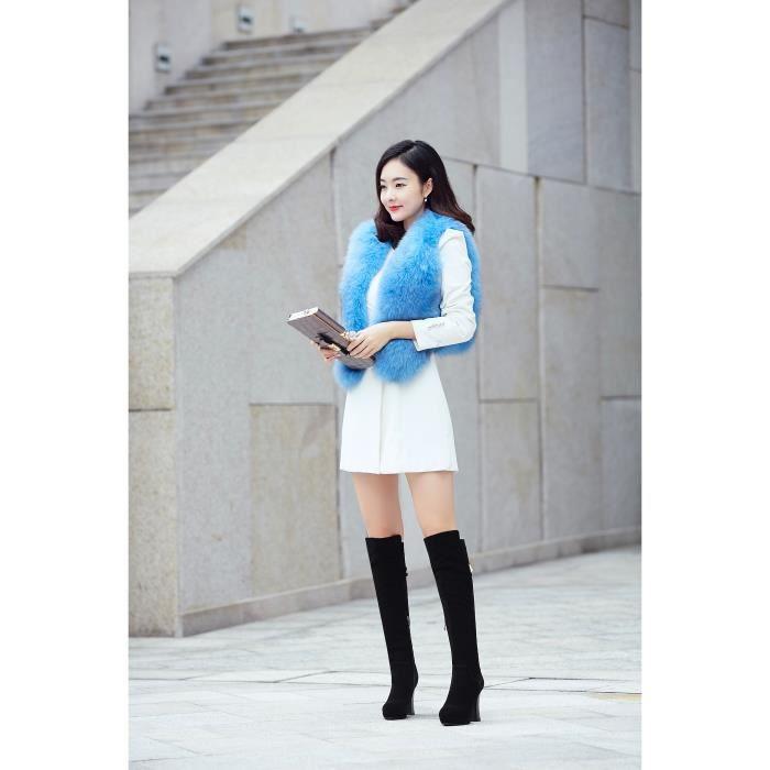 2016 hiver sexy épaisse avec des bottes à talons hauts bottes imperméables rondes femelles à hauts talons noirs