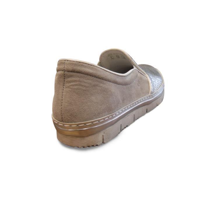 Mocassin/loafer femme cuir argent KHRIO