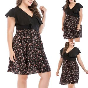 ROBE Grande taille femmes occasionnels robe manches cou