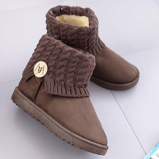 Mode Femmes Bottines plates Bottes laine d'hiver Chaussures de neige chaude  Café - Achat / Vente botte