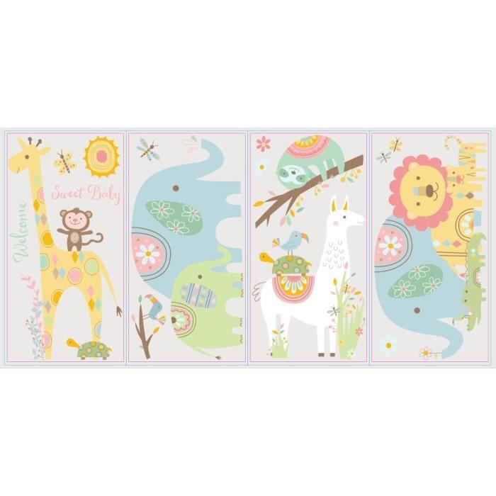 ROOMMATES Stickers TRIBAL BABY ANIMALS PEEL repositionnables 4 feuilles de 10,1cm x 44,1cm