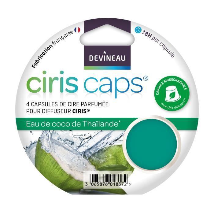 DEVINEAU Lot 4 capsules de cire parfumée Ciris - Eau de coco de Thaïlande