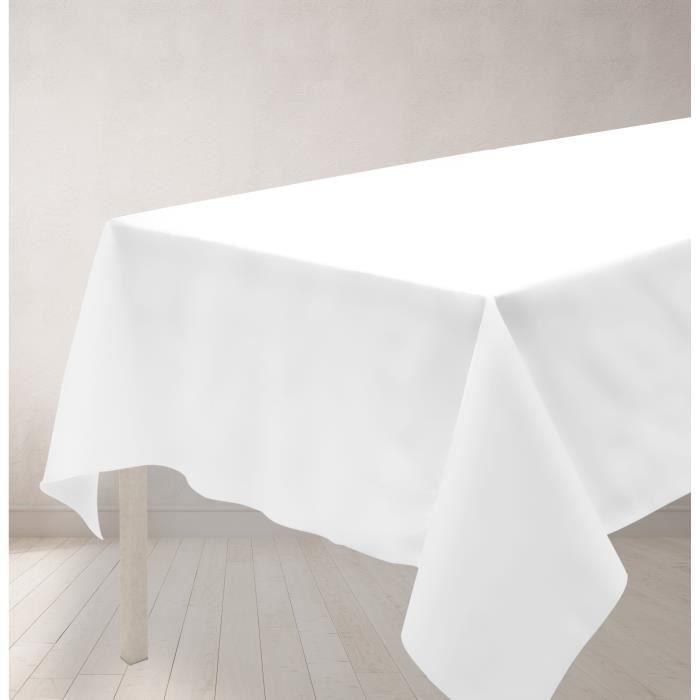 SOLEIL D'OCRE Nappe anti-tâches rectangle 140x240cm ALIX Blanche