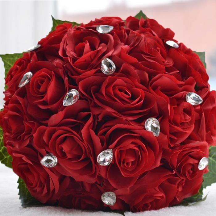 Rouge 27 25cm Bouquet De Fleur Boule De Rose Artificiel Pour