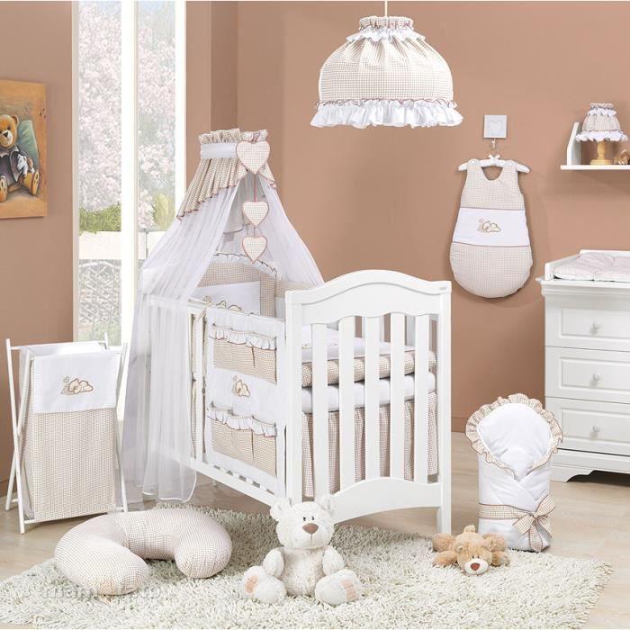 3989dbd778829 Parure de lit bébé 14 pièces 60x120cm beige et blanc - Achat   Vente ...