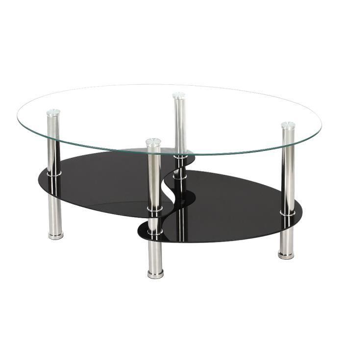 super mignon 93a28 86abc Table Basse en Verre Métal Table de Salon Transparent - 90*50*43cm