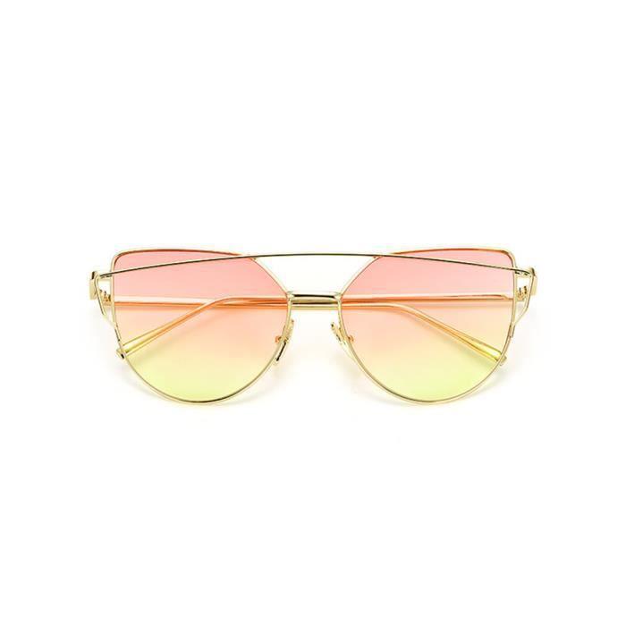 Lunettes de soleil mixte homme et femme Magnifique sunglasses marque de Luxe Golden/rose/Jaune