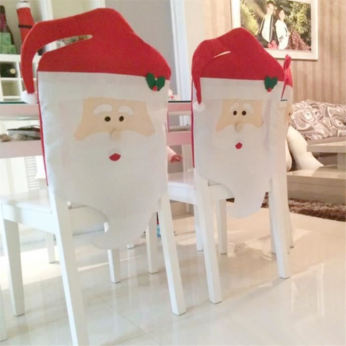 Chambre Décoration Hôtel Chaise Maison Noël Pcs Meuble Salon 1 Père Restaurant Bonhomme Blanc Housse De Rouge Pour Et 8Xn0wPkO