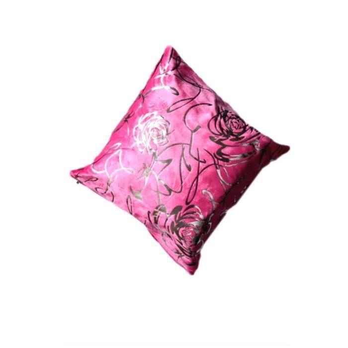 housse de coussin motif rose en fuschia achat vente housse de coussin cdiscount. Black Bedroom Furniture Sets. Home Design Ideas
