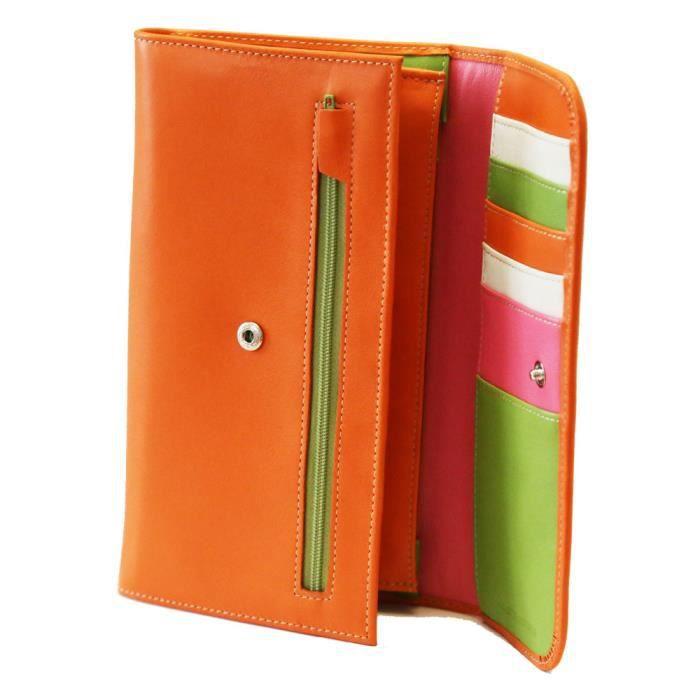 Fancil - Compagnon portefeuille tout-en-un en cuir orange dEqeT7