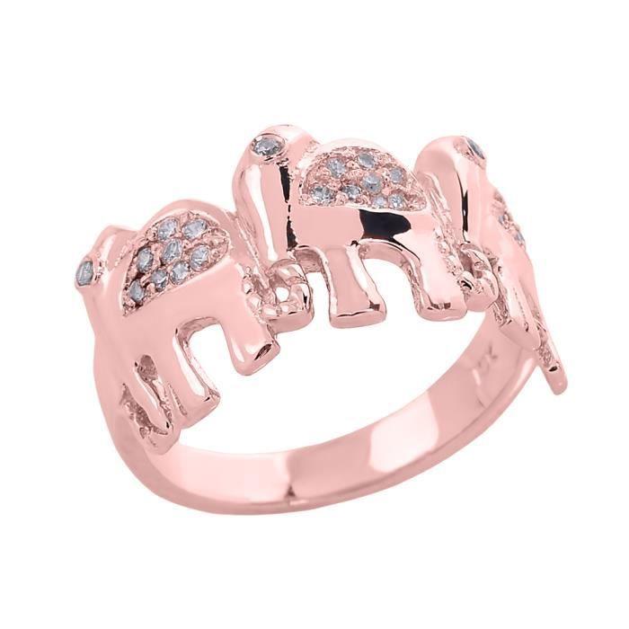 Bague Femme 10 ct Or rose 471/1000 DiamantTrois Eléphant