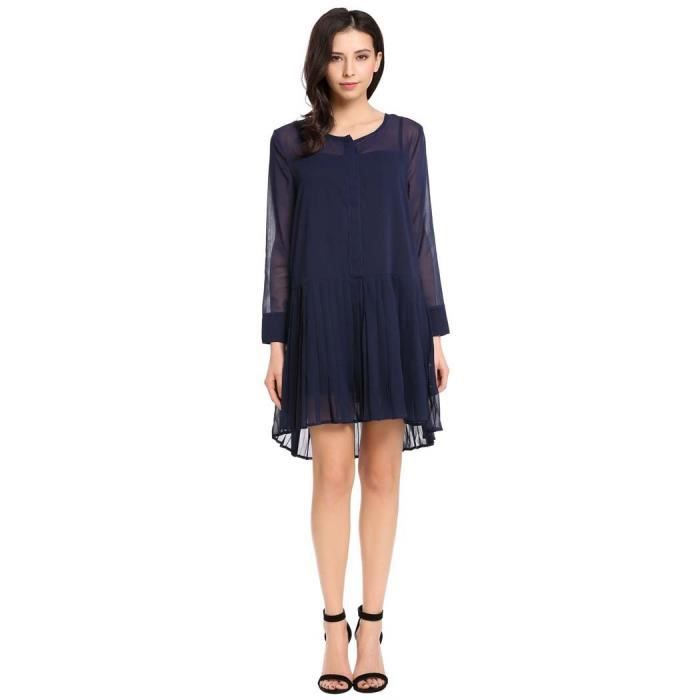 Robe Femmes lâche Casual manches longues col O bouton solide