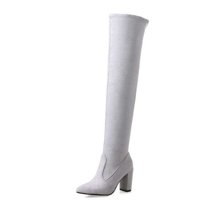 Oaleen Bottes femme cuissardes sexy suède élastique bout pointu chaussures hiver talon bloc Gris 34