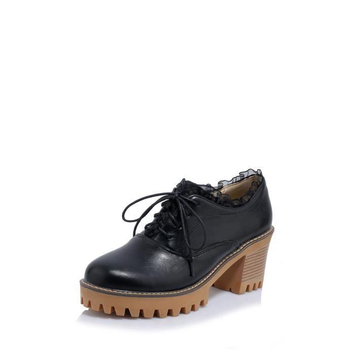 Mocassins Femmes Pompes Ladylike Lace Up Vintage Tous les Chaussures à talon épais Matched 6922528