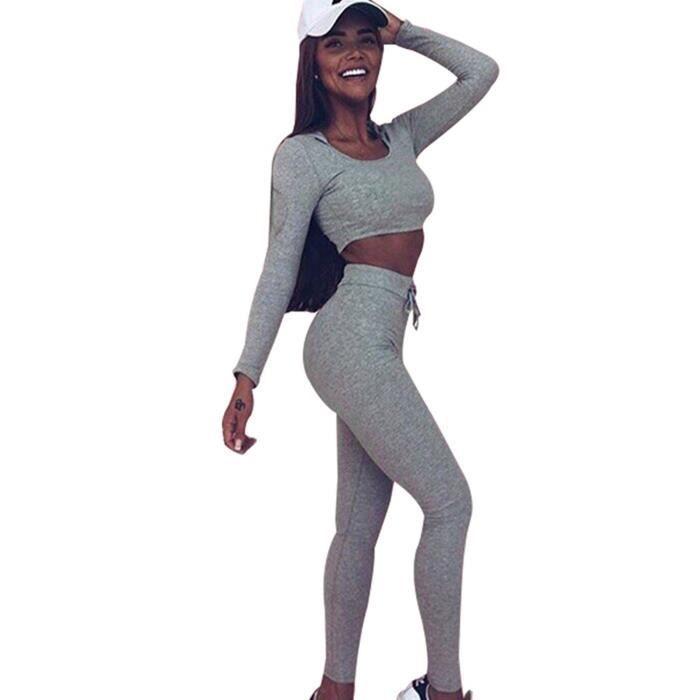Minetom Femmes Jogging Sportswear Survêtement Manches Longues Crop Top Sweat -Shirt à Capuche Et Pantalon Sport Deux Pièces Ensemble 8716db8403b