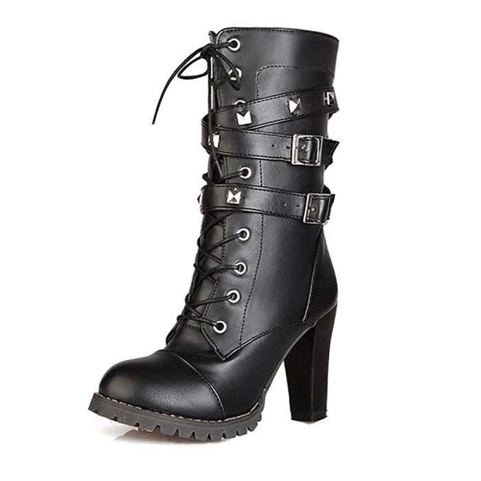 1494dd30882 Femme Mode Rock Rivets Décoration Lacets Bottes Motard Cuir PU Moto  Cheville Bottines Chaussures À Talons Hauts Martin Boots