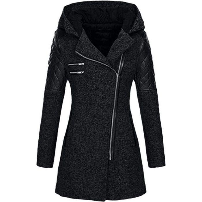 limpide en vue site réputé meilleure vente Femmes Caban Veste Slim chaud épais parka d'hiver Pardessus Outwear capuche  Manteau Zipper @Noir