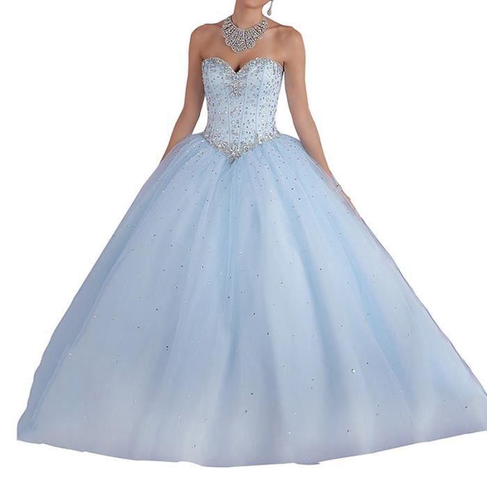 Yl087 Tube De Mariage Haut Longue Robe Bleu Clair Parti Minceur