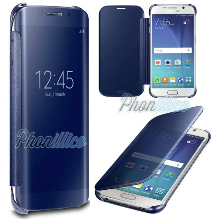 coque flip clear view bleu compatible samsung galaxy j7 2016 phonillico achat coque. Black Bedroom Furniture Sets. Home Design Ideas