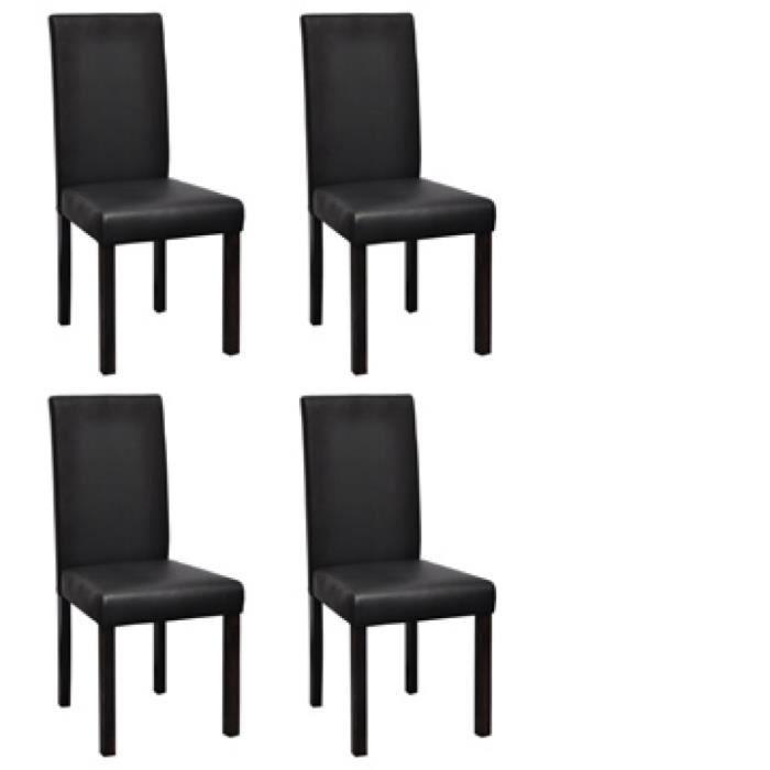 Vidaxl chaises de salle manger 4 pcs noir similicuir for Chaise salle a manger vidaxl