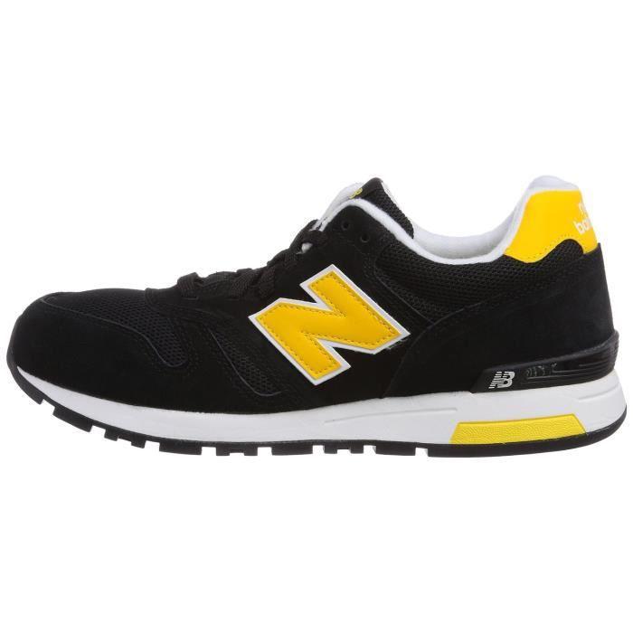 NEW BALANCE baskets basses cuir et toile homme ML565SMK noir et jaune