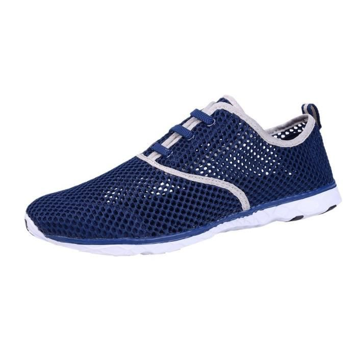 Water Shoes Mens Quick Drying Aqua Shoes Beach Pool Shoes Mesh Slip On PFICF Taille-47