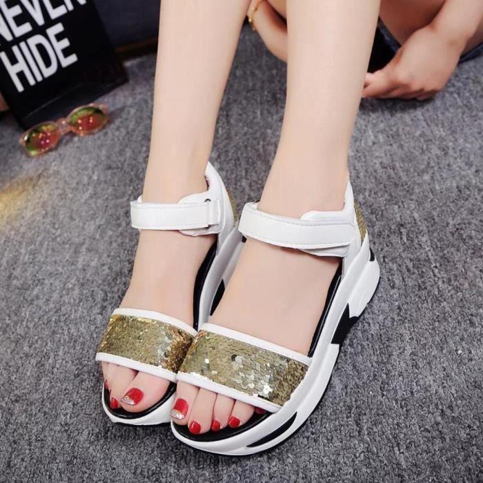 Tongs or Peep Hautes Des Femmes Sandales toe Chaussures Dames D't Romaines wFZ7aq7