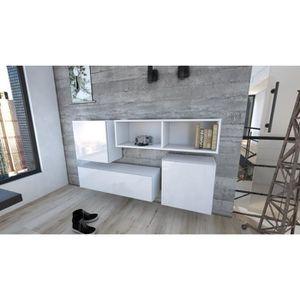 ensemble meubles de salon ensemble de 4 meubles suspendus en blanc