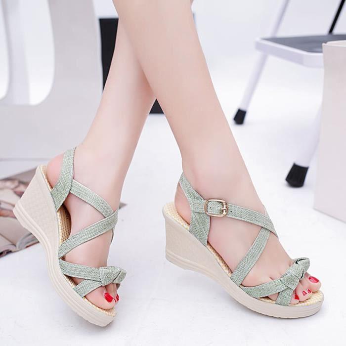 Femmes Casual D'été Chaussures Sandales Platform Toe Wedges Peep Vert wtrwqFf