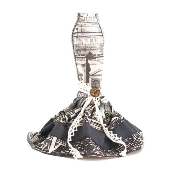 Poupée porte bijoux mixte robe de soirée Noir et blanc