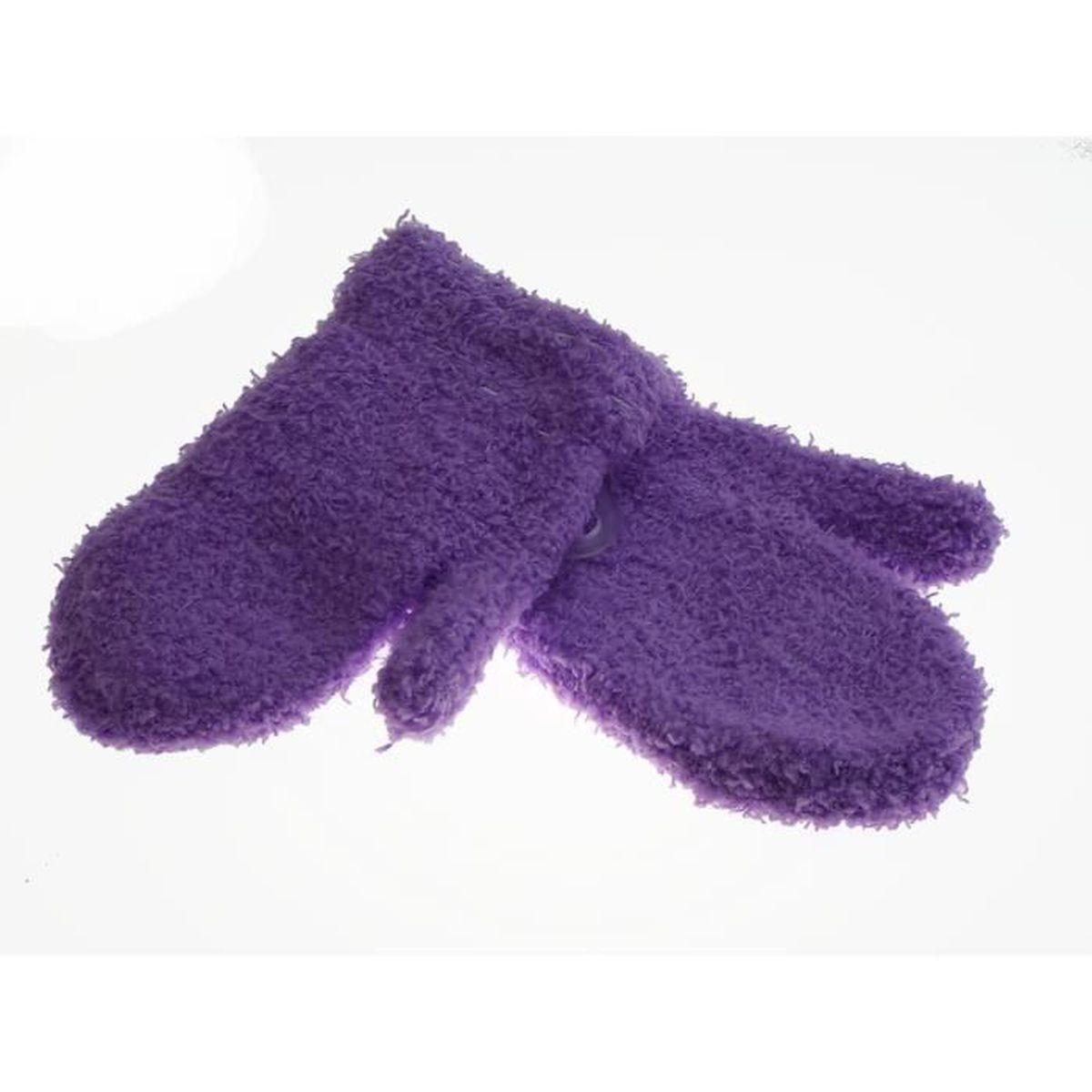 1 paire de moufle - bébé - mixte - uni parme - Taille unique extensible -  100% polyester 65c381814e0