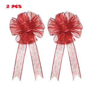 BOUQUET MARIÉE TISSU 2 PC Large Glitter Christmas Bow Red Bow Bouquet H
