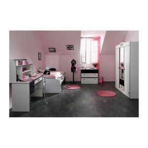 Chambre Fille avec armoire 3 portes DISCO Noire et Blanche - Achat ...