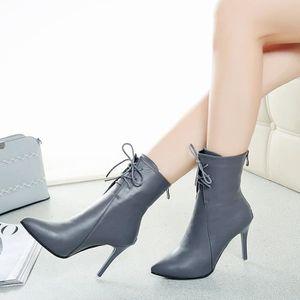 Hotskynie®Mode Point Toe sandales à talons automne hiver ajusté simples pour femmes Gris*XYM70912906GY doKJ9QhUp