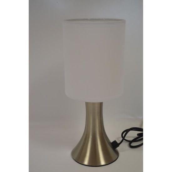 Lampe Touch Pied Metal Et Abat Jour Blanc Achat Vente Lampe