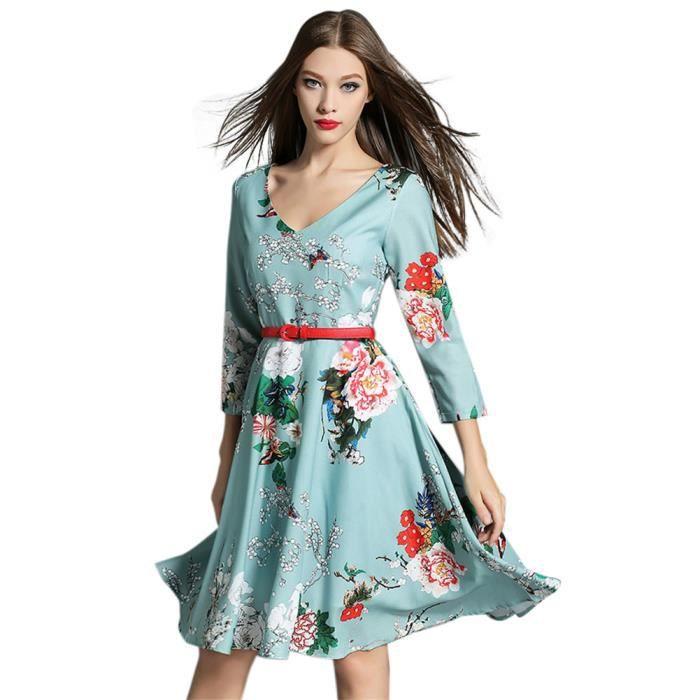 ec1331c92c5fe Robe BLEU à Fleur à manches longues V-coréen Vi... Bleu à fleur ...