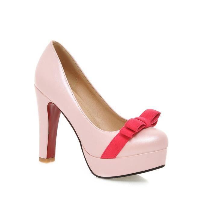 Talons noir Bowknot Avec Mariage Beau Chaussures rose Femmes Hauts Lgant Blanc WaPCqanwp