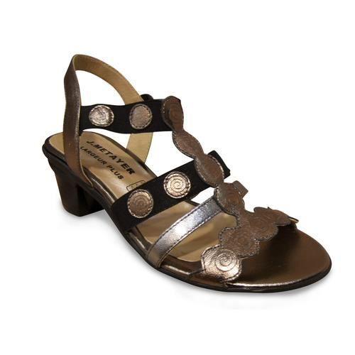 Sandale/pied-nu METAYER cuir noir et bronze doré 8d81JjmPPg