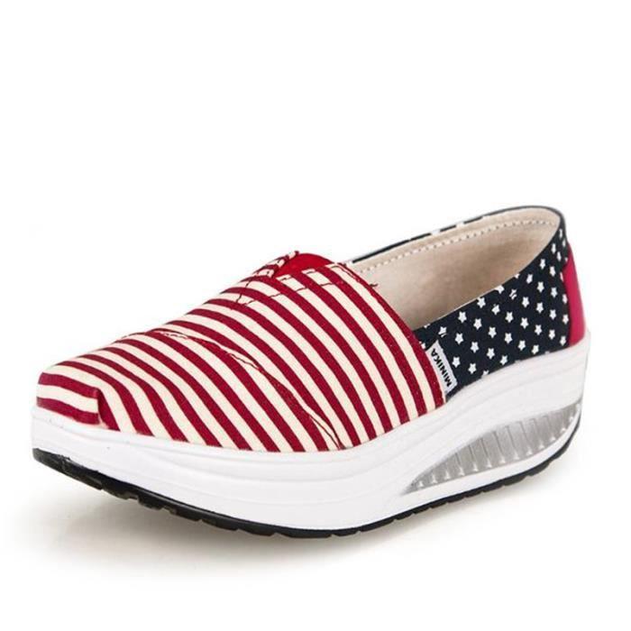 chaussure femmes Confortable Nouvelle Mode Moccasin plates à fond épais Marque De Luxe Loafer femme Grande Taille hauteur WvJncc