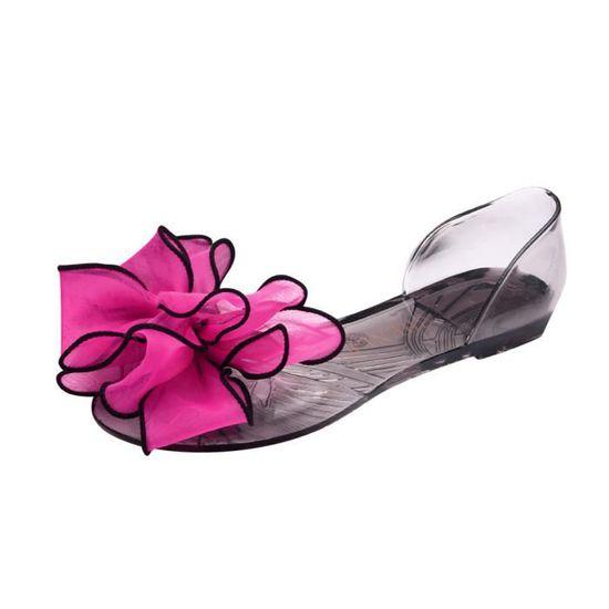 Poisson Bow Plage rouge Sandales Non Chaussures Bouche Plat Femmes Fashion Glissement dQEoWrCxBe