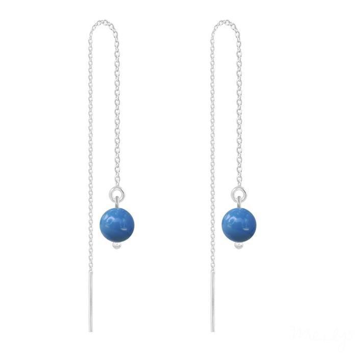 BouclesdOreilles Chaînes Argent 925°°°ornées dauthentiques Perles de Cristal Nacré Swarovski®. (livré avec certificat).