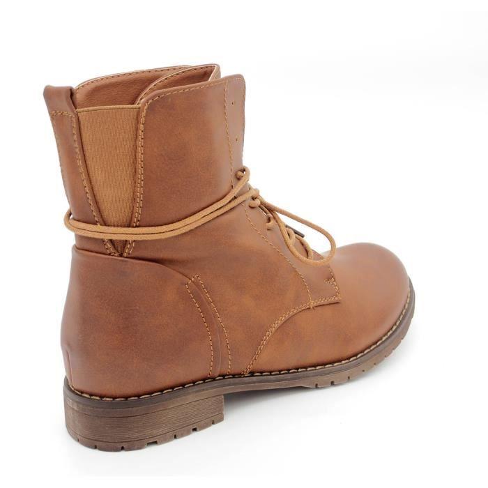 Chaussures Bottines boots à lacets femme Bout rond Talon plat cuir synthétique