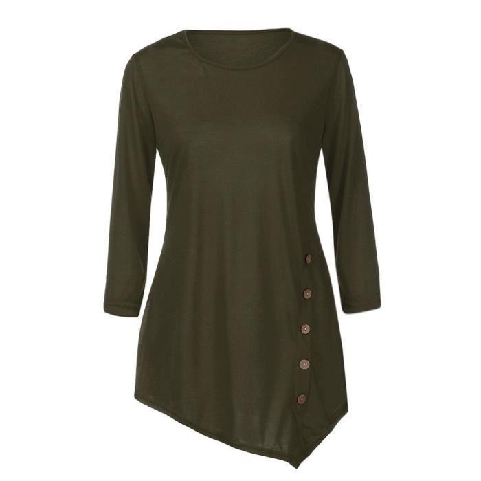 Unie Bouton Longues Couleur Rond En gsd7281 Femmes Col T Garniture Chemisier shirt Vrac Tunique Manches 8qnCwwxU1