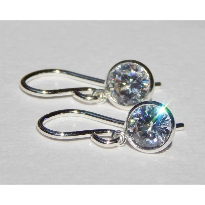 Craze sarcelle vert cristal en argent sterling boucles doreilles en argent C9HHD