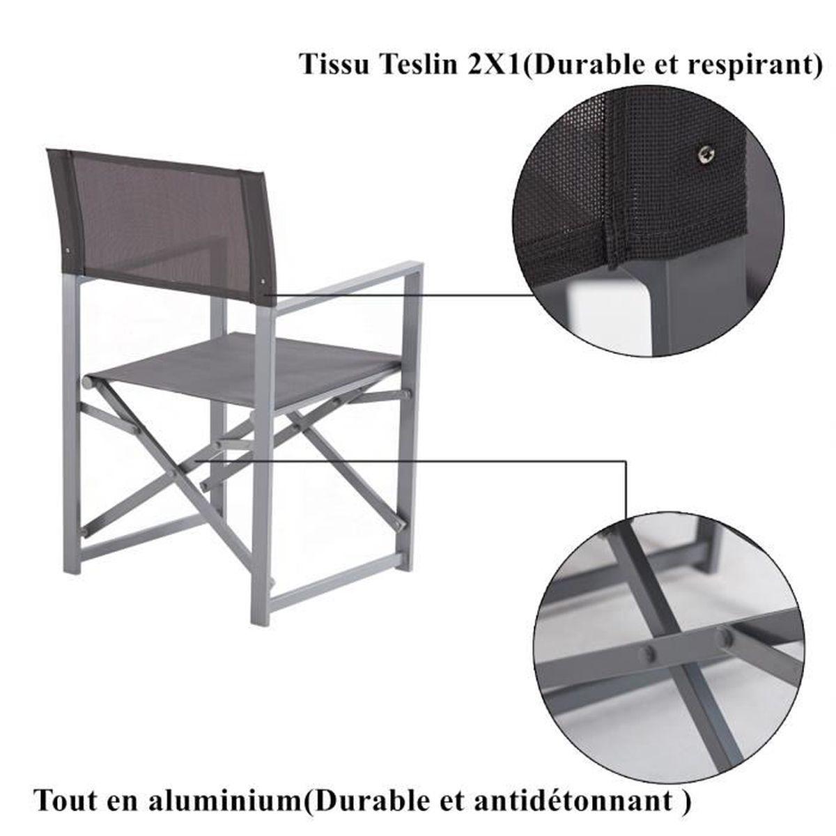 Table de Jardin extensible (de 151 cm à 210 cm) + 6 Fauteuils pliables+ PE  Housse de Protection(170 cm*95 cm*70 cm)