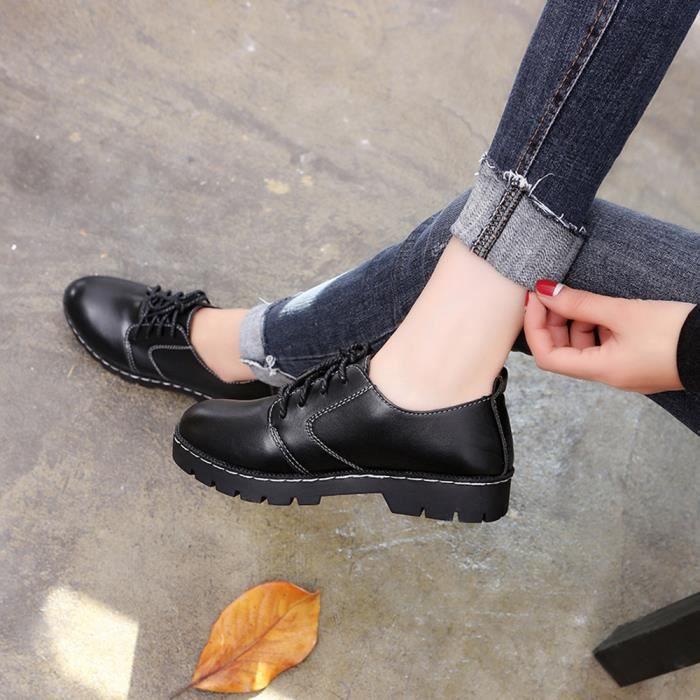 Cheville Mode 2003 Féminine Up Cuir Plat uji Dentelle Bottes Casual De Rond Bout Noir Bottines En Chaussures qEvzax