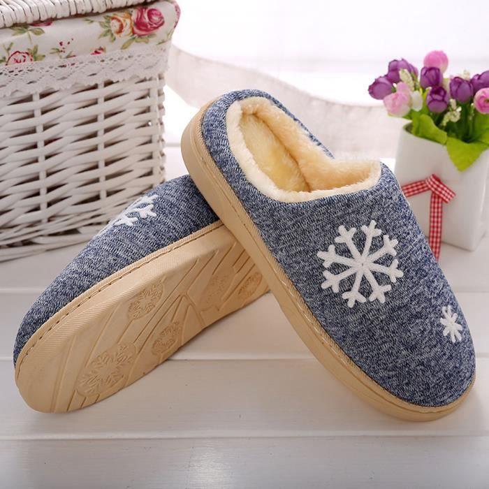 Chaussons Hiver Fourrure Accueil Chaude Hommes Fausse D'intrieur Chaussures bleu U0wrUq